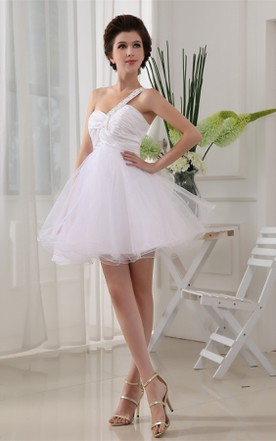 Sweetheart Criss-Cross Tulle Mini A-Line Dress with Beaded Strap
