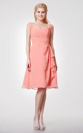 9f12611ec2b Cap-sleeved Chiffon Knee Length Dress With Back Keyhole ...
