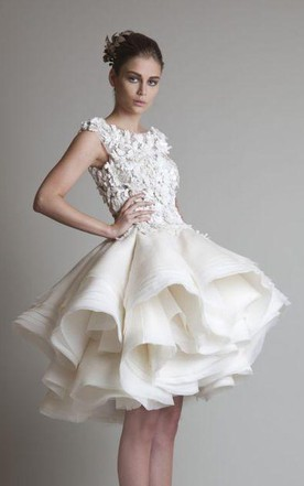 Short bridal dresses tea knee length wedding gowns june bridals a line ball gown empire mini jewel bell cap empire appliques ruffles button lace organza junglespirit Image collections
