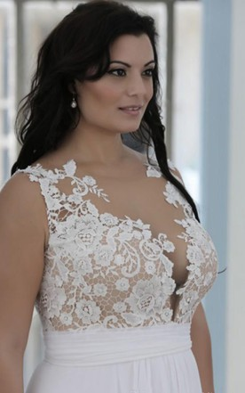 A Line Sheer Bateau Neck Sweetheart Lace Top High Quality Plus Size Brides  Gown ...
