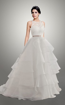 Sweetheart Organza Wedding Dress With Ribbon And Keyhole