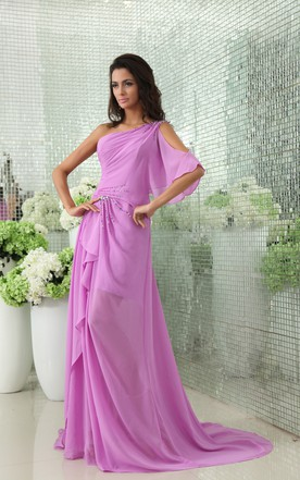 Noble Side Draped Chiffon Sequined Backless Unique Gown