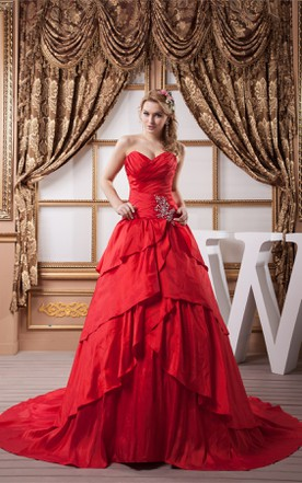 Sweetheart Criss-Cross Draped Gown with Crystal Detailing