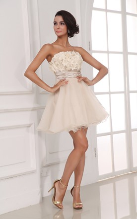 Chic Champagne A-Line Style Dress With Flowers