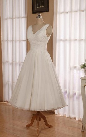V-Neck Sleeveless Tea-Length Chiffon Wedding Dress With Ruching And Low-V Back