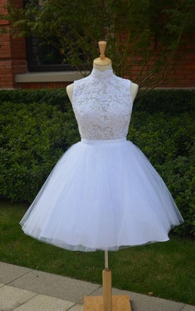 Mini Knee-Length Tulle Lace Dress With Beading Keyhole Back