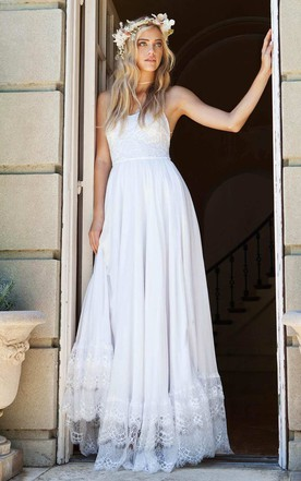 Bell Sleeve Chiffon Lace Wedding Dress