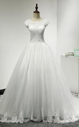 Jewel Neck Cap Sleeve Tulle Ball Gown With Scalloped Hem