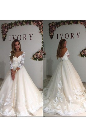80c7705da19 Long Sleeve Off the Shoulder V Neck A Line with Appliques Bridal Gowns ...