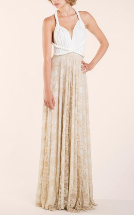 Romantic White Golden Lace Vintage Inspired Dress