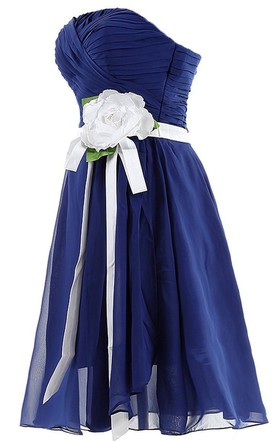 Strapless Ruching and Pleated Dress With Satin Bow
