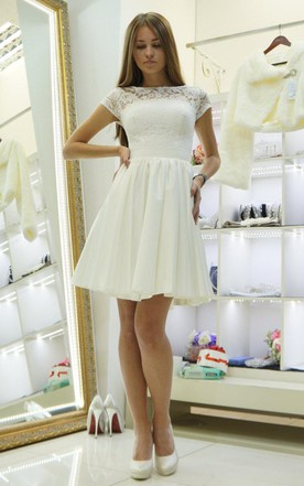 Bateau Short Sleeve Mini Lace A-Line Wedding Dress
