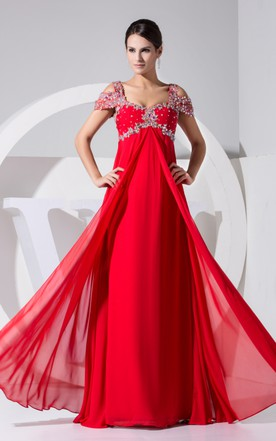Red color wedding dress bridal gowns in red june bridals sleeveless empire chiffon long dress with colorful beading junglespirit Images
