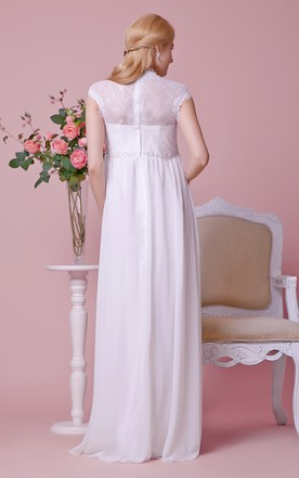 Cap-sleeved A-line Chiffon Maternity Wedding Dress With Lace Bodice and Waist