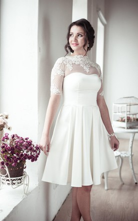 Romantic Lace Half Sleeve High Neck Pleated A Line Short Wedding Dress