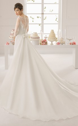 Long Illusion Lace Sleeve High Neck Lace Bodice Long Gown