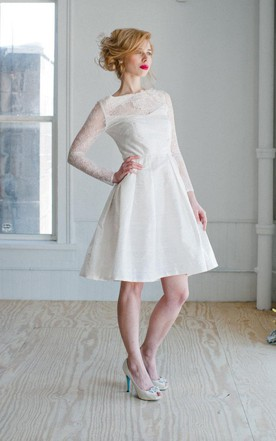 Bateau Long Illusion Sleeve A Line Knee Length Taffeta Wedding Dress