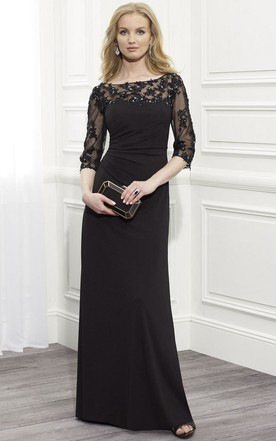ceaef78f0b6 Sheath Floor-Length Appliqued Bateau-Neck Half-Sleeve Jersey Formal Dress  With Beading ...