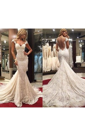 Delicate Mermaid Lace Appliques Wedding Dress With Court Train