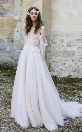 Off-The-Shoulder Tulle Illusion Sleeve Dress With Appliques And Sweep Train