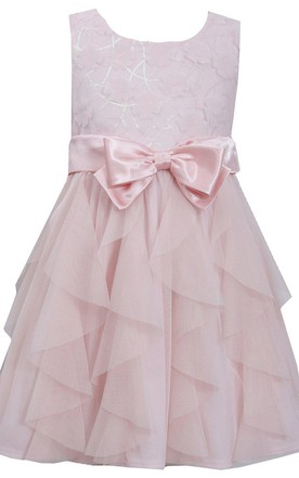 Sleeveless Ruffled Lace Bodice Dress With Bow