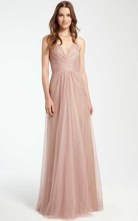 Sleeveless V Neck Maxi Tulle Bridesmaid Dress With Criss Cross