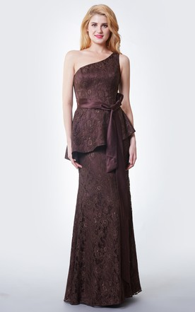 Slinky Trumpet Long Lace Dress With Peplum and Satin Sash