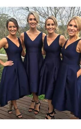 e045cad84d A-Line V-neck Sleeveless Satin Dress ...
