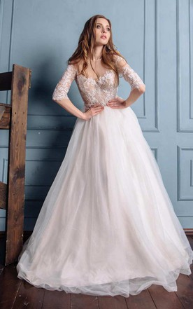 Illusion Bateau Long Sleeve Tulle A-Line Wedding Dress With Ribbon And Beaded Waist