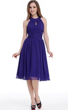 Purple Knee Length Chiffon Dress