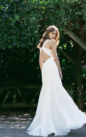 V-Neck Sleeveless Chiffon Wedding Dress With Ruching and Dropped Waist