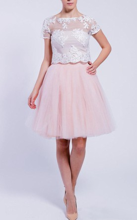 Knee-length Tulle&Satin Dress