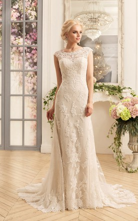 2nd married wedding gowns older mature women bridal dresses sheath floor length scoop cap sleeve illusion lace dress with appliques junglespirit Gallery