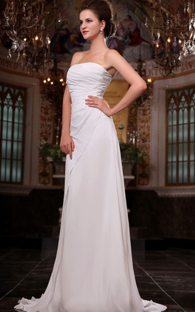 Bust Fabulous Dropping Strapless Chiffon Ruched Side Gown