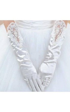 White Stretch Satin Long Length Sequins Beads Package Refers To Gloves