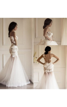Sexy Illusion Sleeveless Mermaid Wedding Dress With Lace Appliques