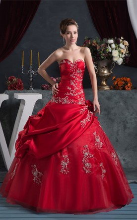 Red color wedding dress bridal gowns in red june bridals sweetheart pick up ball gown with beading and embroideries junglespirit Images
