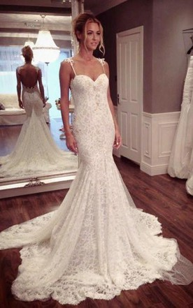 Open back bridal gowns backless wedding dress june bridals sexy mermaid lace court train wedding dress 2018 spaghetti strap junglespirit Images
