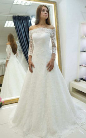 93dc1d5b122 Off-The-Shoulder Long Sleeve Satin Beaded Lace Wedding Dress ...
