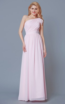 36c2f07fdab Sleeveless One Shoulder Ruched Chiffon Gown With Sash ...