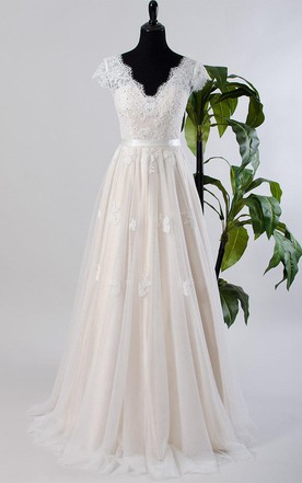 Cute cheap wedding dresses pretty wedding dresses june bridals cap sleeve tulle lace satin weddig dress with low v back junglespirit Image collections
