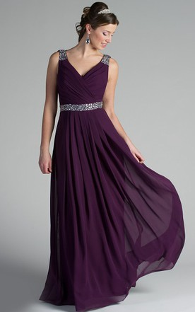 32e0886afe02 V Neck Back Dropping Chiffon Long Bridesmaid Dress With Crystal Straps And  Waist ...
