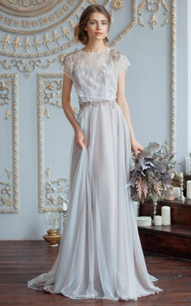 Grey silver wedding dresses june bridals tulle satin beaded lace wedding dress junglespirit Image collections