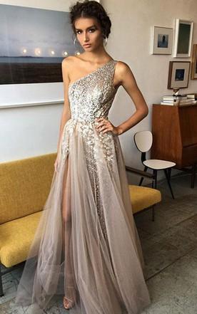 b714e7dd1fdf One Shoulder Sexy Side Slit Heavily Beaded Long Evening Prom Dress