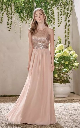6f02218ef43c ... A-line Halter V-neck Sleeveless Floor-length Chiffon Sequins Bridesmaid  Dress with