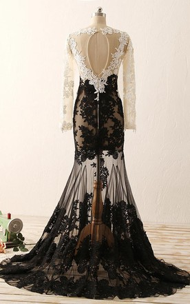 9b95f2e1538 ... Mermaid Floor-length Long Sleeve Tulle Lace Dress