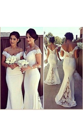 c4a791b681d6b Mermaid Off-the-shoulder Appliques Backless Lace Satin Dress