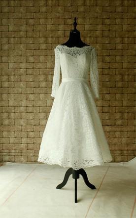 Tea Wedding Gowns, Short/Midi Length Bridal Dress - June Bridals