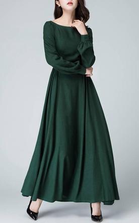 Linen Handmade Bishop Sleeve Long Sleeve Boat Neck Dark Green Maxi Long  Women Custom 1454 Dress ...