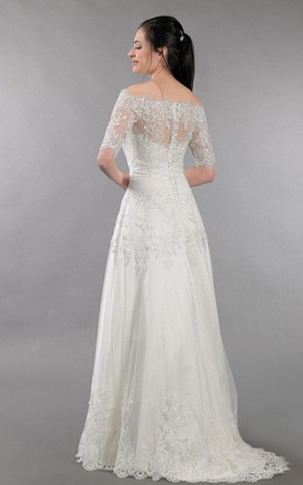 Lace Wedding Dress With Off Shoulder Bolero Alencon Lace
